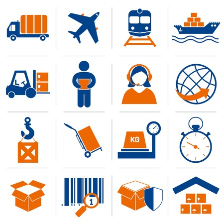 ロジスティック サービス、配信および供給のベクトル図のアイコン セットを配布