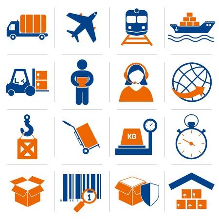 Logistieke dienstverleners en verzendkosten pictogrammen instellen van levering en levering vectorillustratie