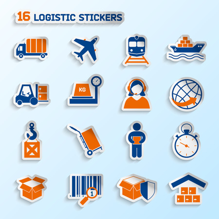 supply chain: Logistic package transportation global urgent delivery stickers set vector illustration