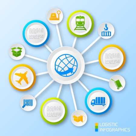 Logistic paper business infographic options and transportation chain elements vector illustration Vector