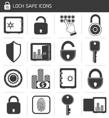 Business banking finance lock safe icons  set of cash hand system padlock isolated vector illustration Vector