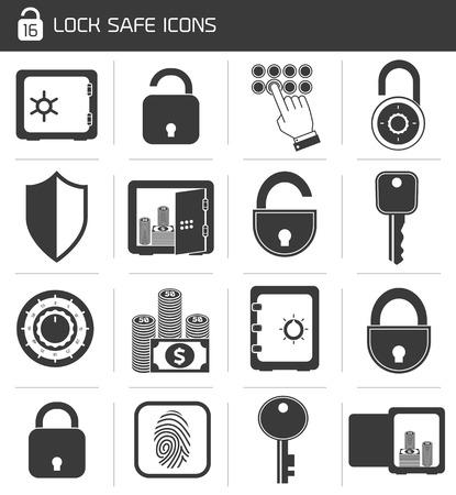 cash in hand: Iconos Bloqueo seguro financiaci�n bancaria de negocios conjunto de aislados candado sistema de mano de caja ilustraci�n vectorial Vectores
