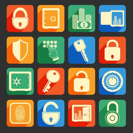 code lock: Business banking finance lock safe icons  set of security protection credit circle isolated vector illustration