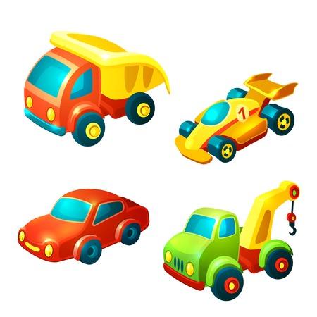 Vervoer speelgoed decoratieve pictogrammen die met geïsoleerde vrachtwagen racewagen auto vectorillustratie