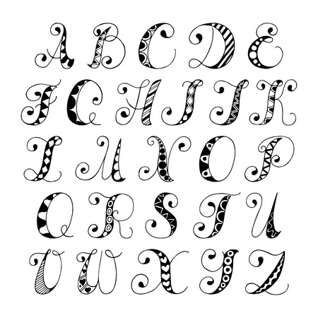 Sketch hand drawn alphabet black and white font letters isolated vector illustration Vector