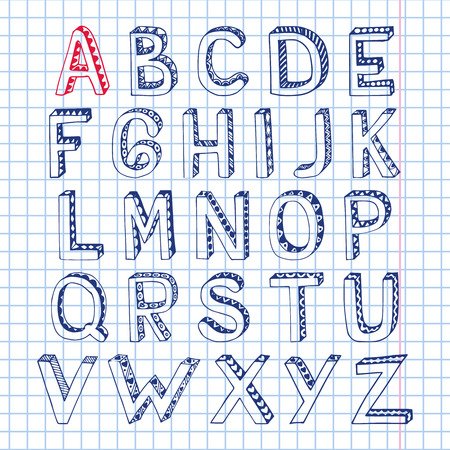 Sketch hand drawn 3d doodle alphabet letters on squared notebook page isolated vector illustration Vector