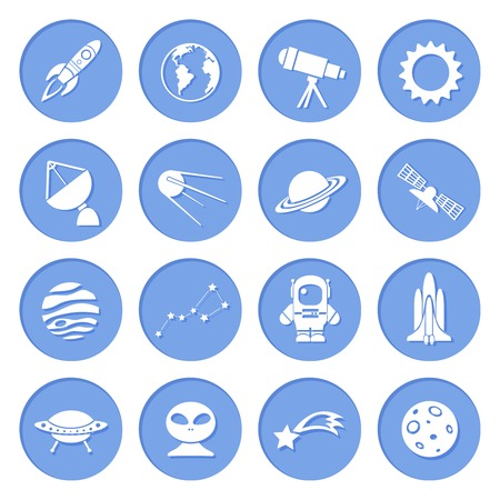 Space ship and astronomy icons set of rocket satellite earth alien Vector