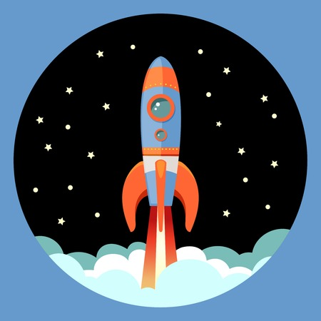 booster: Space rocket ship start cartoon futuristic travel emblem with stars on background