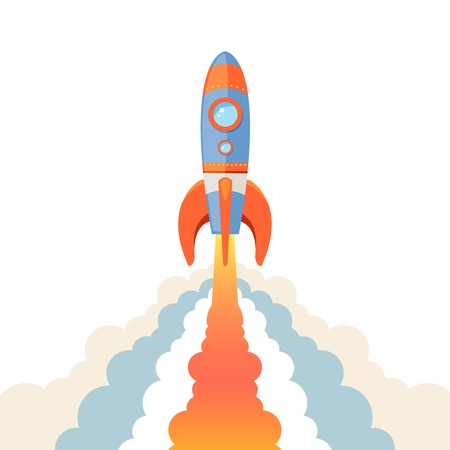 Space rocket ship start cartoon emblem isolated on white background Vektorové ilustrace