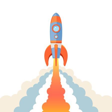 Space rocket ship start cartoon emblem isolated on white background