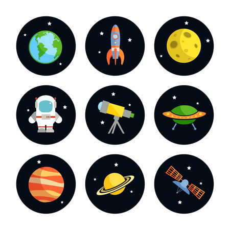 Space and astronomy round icons set of earth rocket moon astronaut isolated