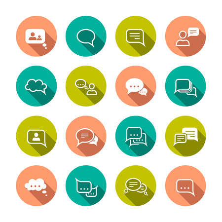 Chat message speech talk text bubble communication flat icons set isolated vector illustration Vector