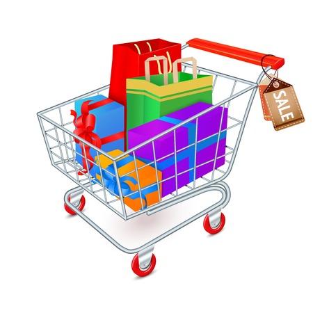 supermarket shopping cart: Supermercado carro de compras 3d lleno de cajas y bolsas de regalo con la ilustraci�n de las etiquetas de la venta del vector