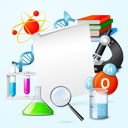 equipment experiment: Blank white sheet of paper in science realistic elements frame vector illustration