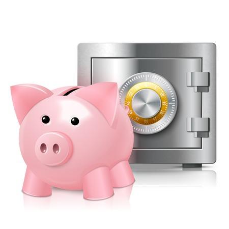 secured: Piggy bank money box with metal steel secured safe poster vector illustration Illustration