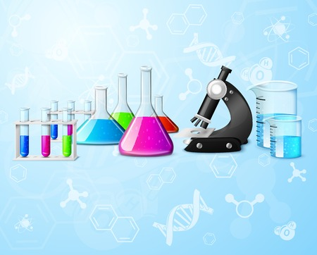 research education: Scientific chemistry physics research education laboratory equipment elements on formulas background Illustration