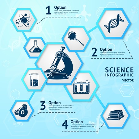 science scientific: Science research hexagon education laboratory equipment business infographic vector illustration