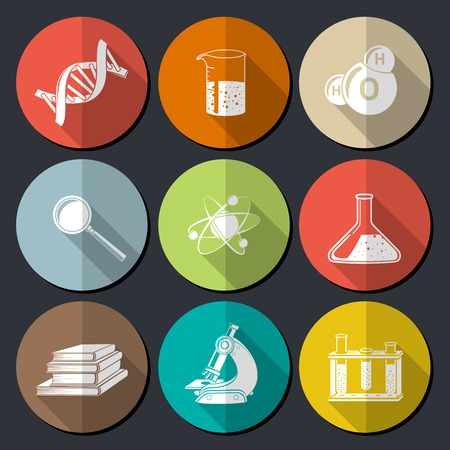 books isolated: Flat science symbols set with dna structure magnifier books isolated vector illustration