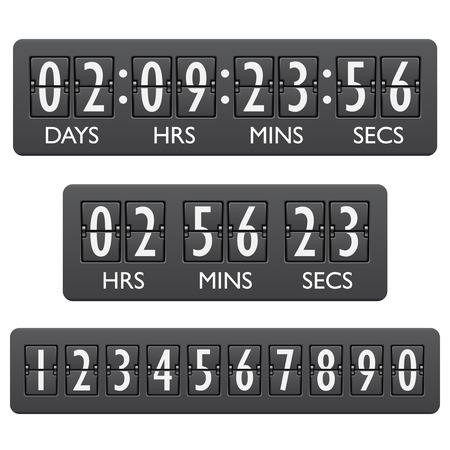Countdown klok timer mechanische cijfers board paneel indicator embleem Stockfoto - 27941923