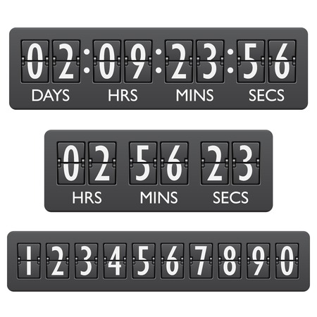 Countdown clock timer mechanical digits board panel indicator emblem