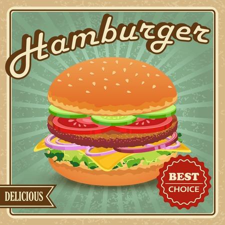 おいしいベスト選択レトロのハンバーガー食品ポスター