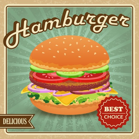 Delicious best choice retro hamburger food poster  Vector