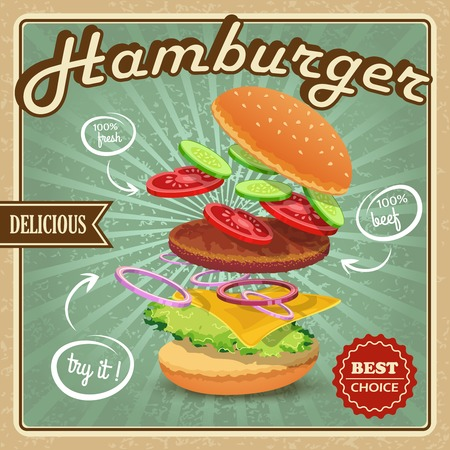 Delicious best choice retro hamburger food fresh ingredients poster vector illustration Vector