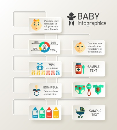 Baby child infographic design layout with newborn content  Vector