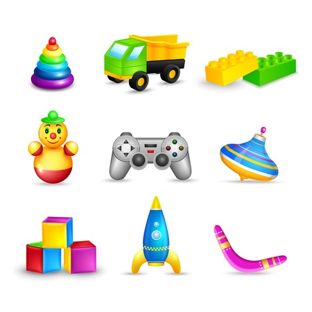 toy shop: Decorative children toys icons set of truck building blocks space rocket isolated
