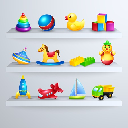 Decorative children toys set of rocking horse yacht airplane on a shelf  Vector