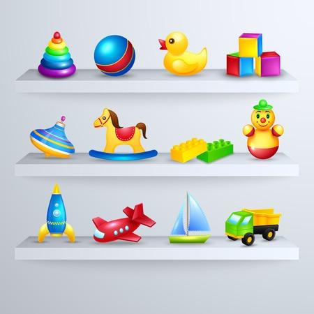 toy shop: Decorative children toys set of rocking horse yacht airplane on a shelf