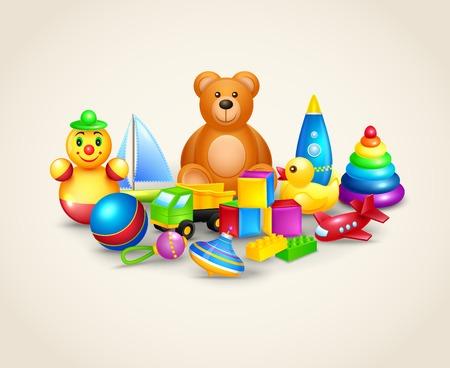 Decorative kids toys composition of ball yacht peg top teddy bear  Vector