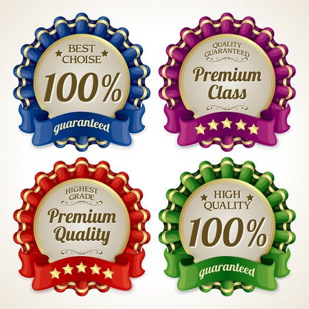 highest: Ribbon advertising sale highest grade premium quality guaranteed labels isolated vector illustration
