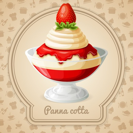 panna cotta: Panna cotta dessert with strawberry syrup badge and food cooking icons on background vector illustration