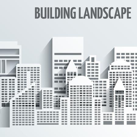 buildings city: Modern city skyline building industrial paper landscape skyscraper offices vector illustration
