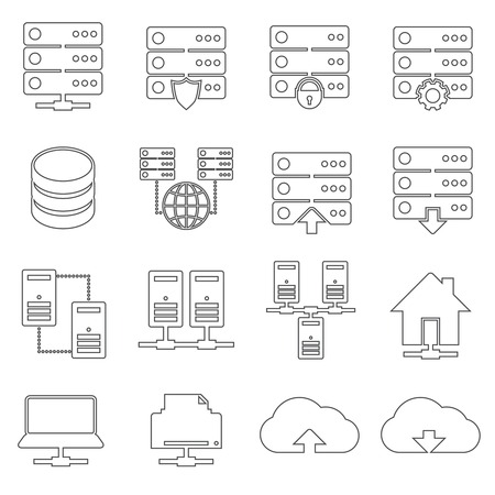 mainframe computer: Hosting technology computer global network security and communications icons set isolated vector illustration