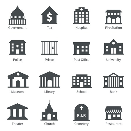bank office: Government building icons set of police  museum library theater isolated vector illustration Illustration