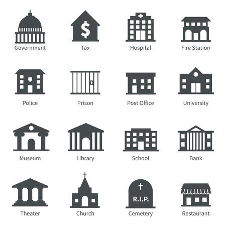 mimari ve binalar: Polis müze kütüphane tiyatro izole vektör çizim seti hükümet binası simgeler