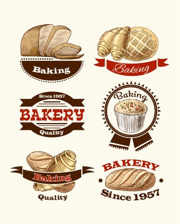 Bread cup cake and croissant pastry vintage bakery food labels vector illustration Vector