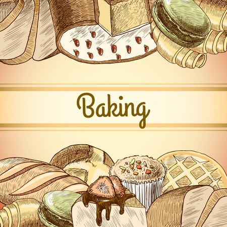 Baking pastry assortment  of dough bread and cakes food poster template vector illustration Vector