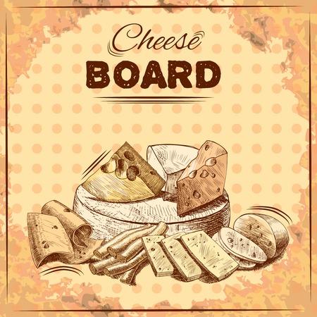 affiche Planche à fromage avec de la nourriture de gourmet produits laitiers frais vecteur assortiment illustration