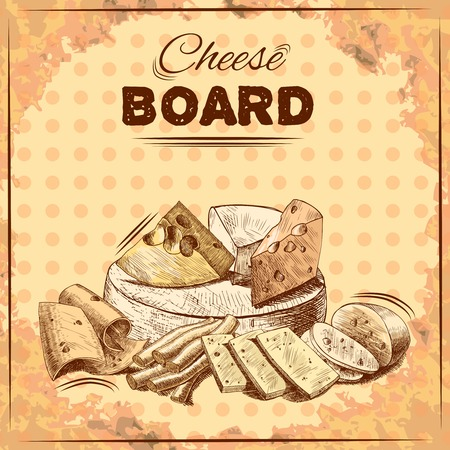 cheddar cheese: Cheese board poster with gourmet food fresh dairy product assortment vector illustration Illustration