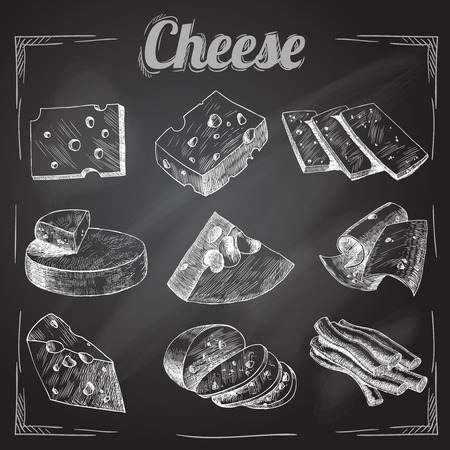 parmesan cheese: Chalk board cut sliced cheese assortment decorative icons set vector illustration