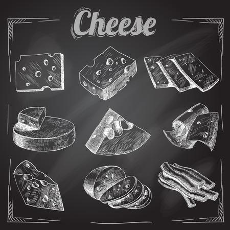 planche: Chalk bord coupe fromage en tranches assortiment ic�nes d�coratifs mis en illustration vectorielle