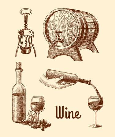 sommelier: Iconos decorativos del vino de la vendimia del bosquejo conjunto de barril botella sacacorchos ilustraci�n vectorial
