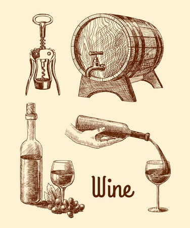 pour: Wine vintage sketch decorative icons set of corkscrew barrel bottle isolated vector illustration