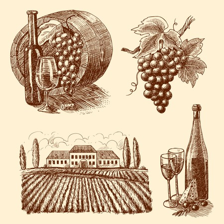 Wine vintage sketch decorative icons set of barrel grape branch winery isolated vector illustration Illustration