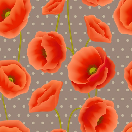 Red romantic poppy flowers with dots spots background wallpaper vector illustration Vector