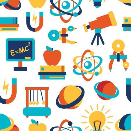 laboratory equipment: Physics equipment laboratory and education elements seamless background vector illustration Illustration