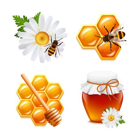 abejas panal: Iconos decorativos alimentos miel establecidos con aisladas de nido de abeja abejorro margarita ilustración vectorial Vectores